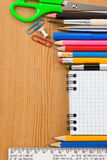 Back to school concept and checked notebook Stock Images