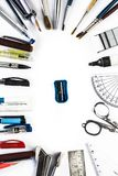 Back to school concept. Close up of stationary items in a circular portion and a sharpener in centre Concept of get back to school Royalty Free Stock Photo