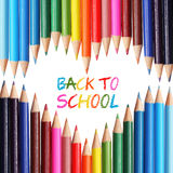 Back to school concept. Colorful pencils arranged as heart. The words 'Back to School' written in pencil Royalty Free Stock Image