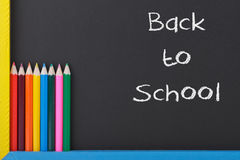 Back to School. Concept with Colourful Pencils on Blackboard Stock Photography