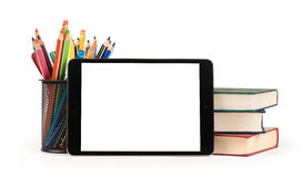 Back to school concept. Digital tablet, pencils and books Stock Photos