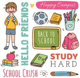 Back to school concept doodle background vector illustration