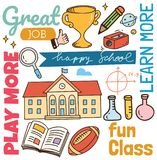 Back to school concept doodle background royalty free illustration
