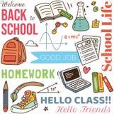 Back to school concept doodle background stock illustration
