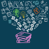 Back to school concept. Falling icons. To the books Stock Photo