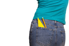 Back to school concept. Girl carrying ruler and pencil in the pocket as back to school concept Stock Photo