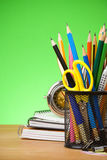 Back to school concept on green Royalty Free Stock Images