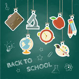 Back to school concept. Hand drawn background with icon set. Green chalkboard effect. Royalty Free Stock Photo