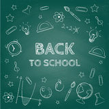 Back to school concept. Hand drawn background with icon set. Green chalkboard effect. stock illustration