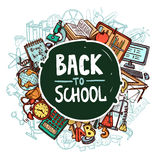 Back To School Concept. With hand drawn education symbols vector illustration Stock Photos