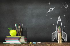 Back to School Concept with Hand Drawn Rocket. On Blackboard Royalty Free Stock Image