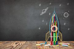 Back to School Concept with Hand Drawn Rocket stock photography