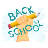 Back to school concept. Hand holding big pencil. Modern art. Vector illustration Stock Image