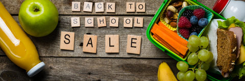 Back to school concept. Healthy lunch and stationary Royalty Free Stock Image
