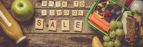 Back to school concept. Healthy lunch and stationary Stock Photography