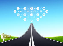 Back to school flat icons education concept. Highway - road leading to school education  symbols in clouds Stock Photo