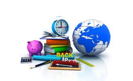 Back to school concept image. 3d illustration Royalty Free Stock Photography