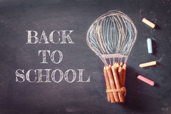 Back to school concept with infographics sketch. On the blackboard Stock Photo