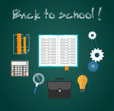 Back to school concept. With item icons. Book calculator briefcase Stock Photo