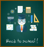 Back to school concept. With item icons. Book calculator briefcase Stock Image
