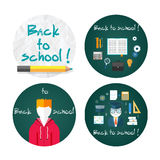 Back to school concept. With item icons. Book calculator briefcase.  text on chalkboard with student Royalty Free Stock Images