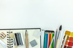 Kids painting tools and accessories on white background royalty free stock photos