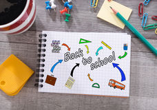 Back to school concept on a notepad Stock Photography