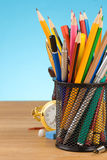 Back to school concept and office supplies on blue Stock Photography