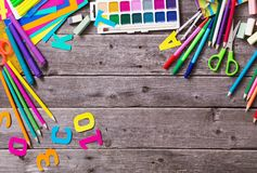 Back to school concept on wooden background. Back to school concept on old  wooden background Royalty Free Stock Images