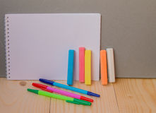 Back to school concept, a pen, Notepad, chalk royalty free stock image