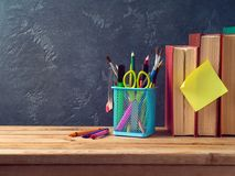 Back to school concept with pencils and old books Royalty Free Stock Images