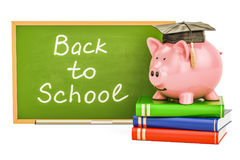 Back to school concept. Piggy bank with books and blackboard, 3D Royalty Free Stock Images