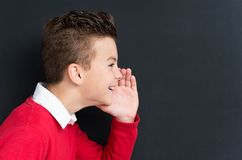 Back to school concept. Portrait of adorable young boy sharing a secret at the black chalkboard in classroom Stock Photo