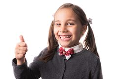 Back To School Concept, Portrait of Happy Smiling Child Student Isolated on White royalty free stock photos