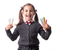 Back To School Concept, Portrait of Happy Smiling Child Student Isolated on White royalty free stock photo
