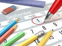 Back to School concept - Red pen mark on the calendar 1 september. 3d illustration Royalty Free Stock Images