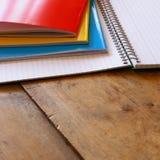 Back to school concept. School notbook on desk Stock Photos