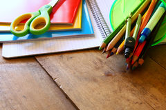Back to school concept. School supplies on desk Royalty Free Stock Photos