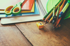 Back to school concept. School supplies on desk Stock Photography