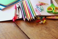 Back to school concept. School supplies on desk Stock Photo
