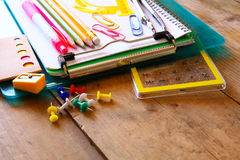 Back to school concept. School supplies on desk Royalty Free Stock Image