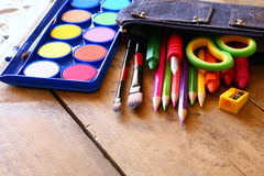 Back to school concept. School supplies on desk Stock Images