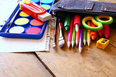 Back to school concept. School supplies on desk Royalty Free Stock Images