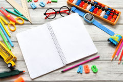 Back to School concept - school supplies. Space for text. Flat lay style. Back to School concept - school supplies and lunchbox. Space for text. Flat lay style stock photo