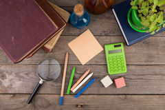 Back to school concept - school supplies on the wooden desk Stock Image