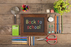 Back to school concept - school supplies on the wooden desk Stock Photos
