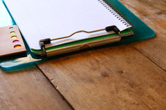 Back to school concept. School supplies on wooden desk Royalty Free Stock Photo