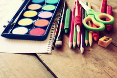 Back to school concept. School supplies on wooden desk Royalty Free Stock Images