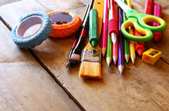 Back to school concept. School supplies on wooden desk Stock Photography