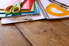 Back to school concept. School supplies on wooden desk Royalty Free Stock Image